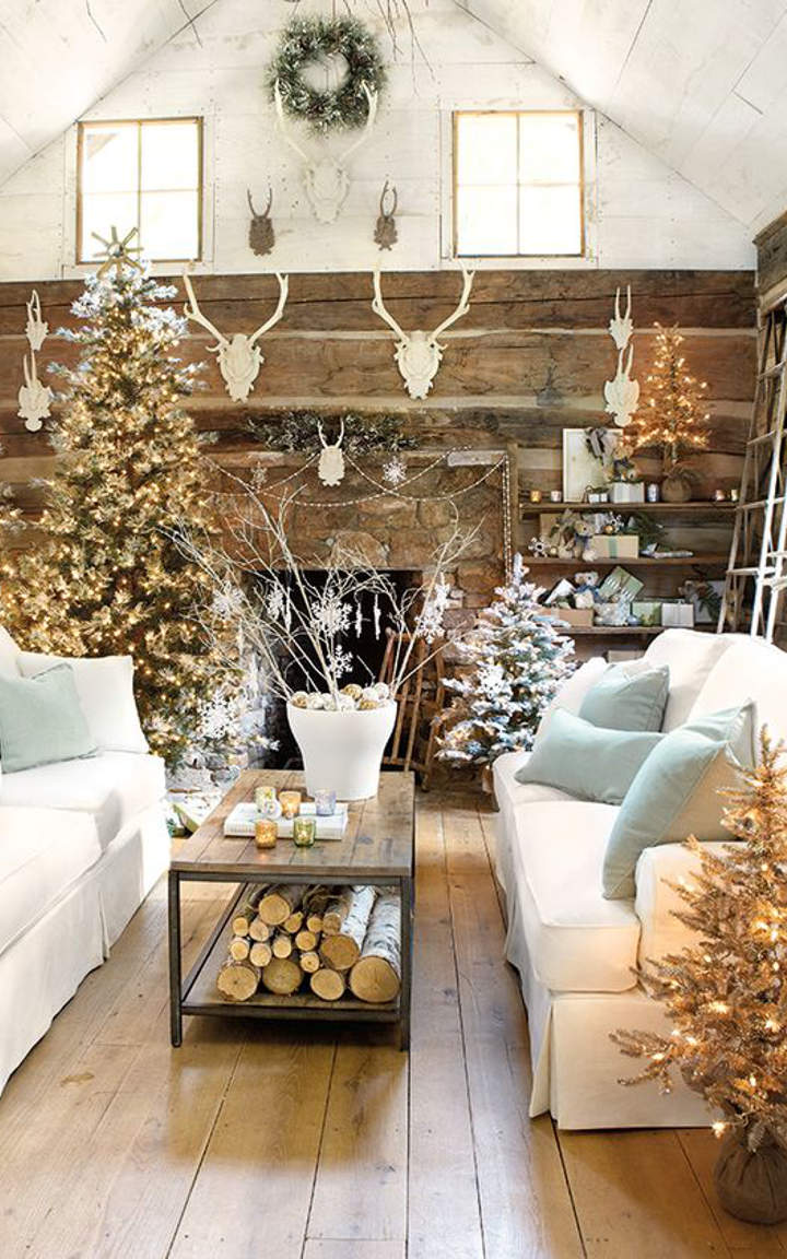 Indoor christmas decoration ideas excellent living room for Pictures of indoor christmas decorations