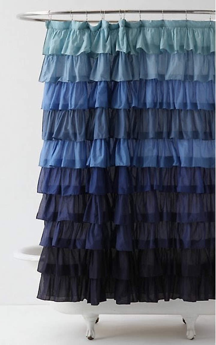 Blue ruffled shower curtains - Ombre Decor 10