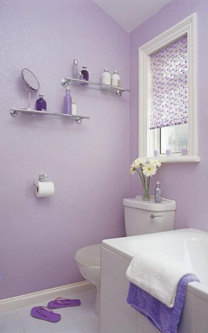 Purple bathroom ideas http www digsdigs com 33 cool for Light purple bathroom accessories