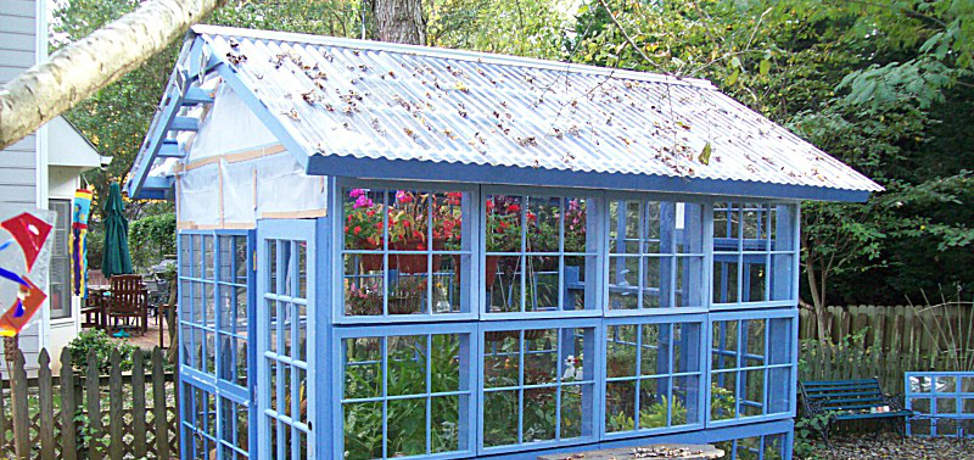 Green houses made with old windows